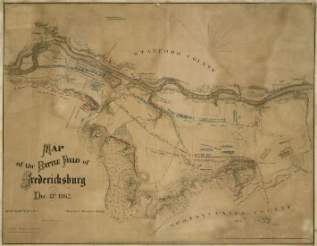 Map of the Battle Field of Fredericksburg Opens in new window