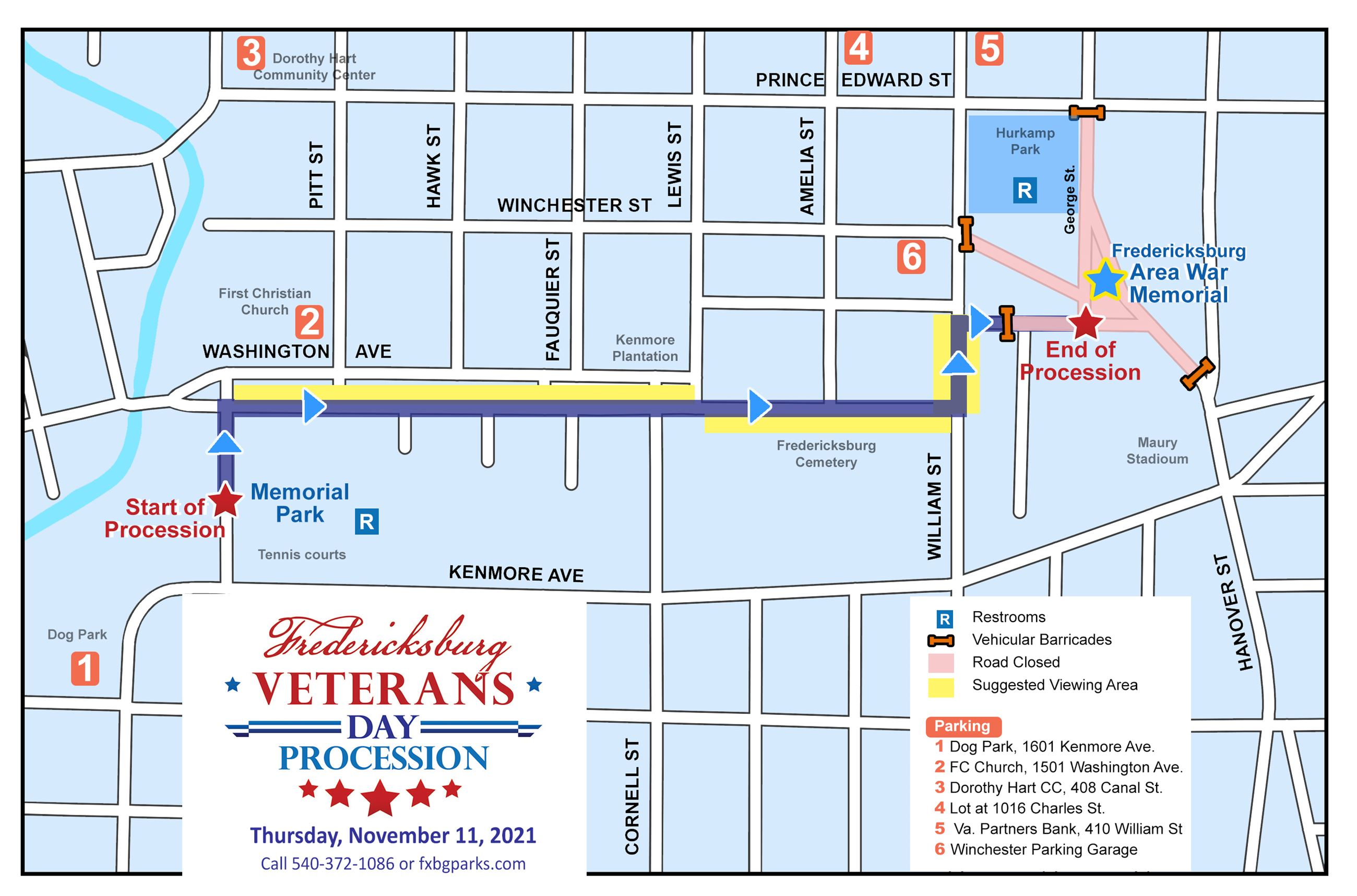 Fred Veterans Day Procession Map 2019