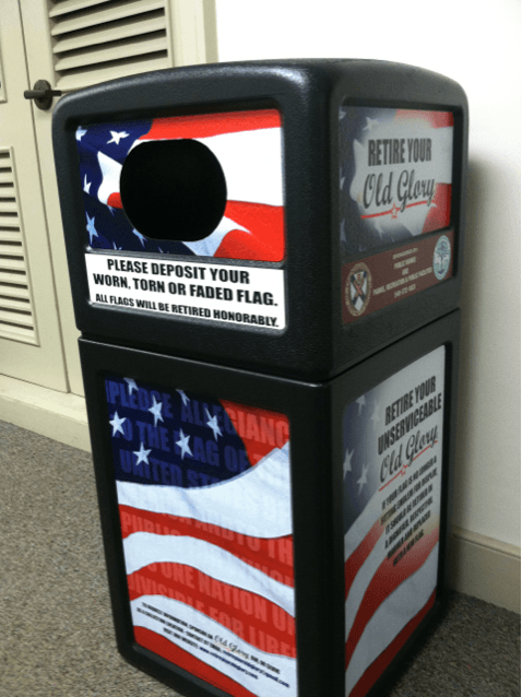 Flag collection bin