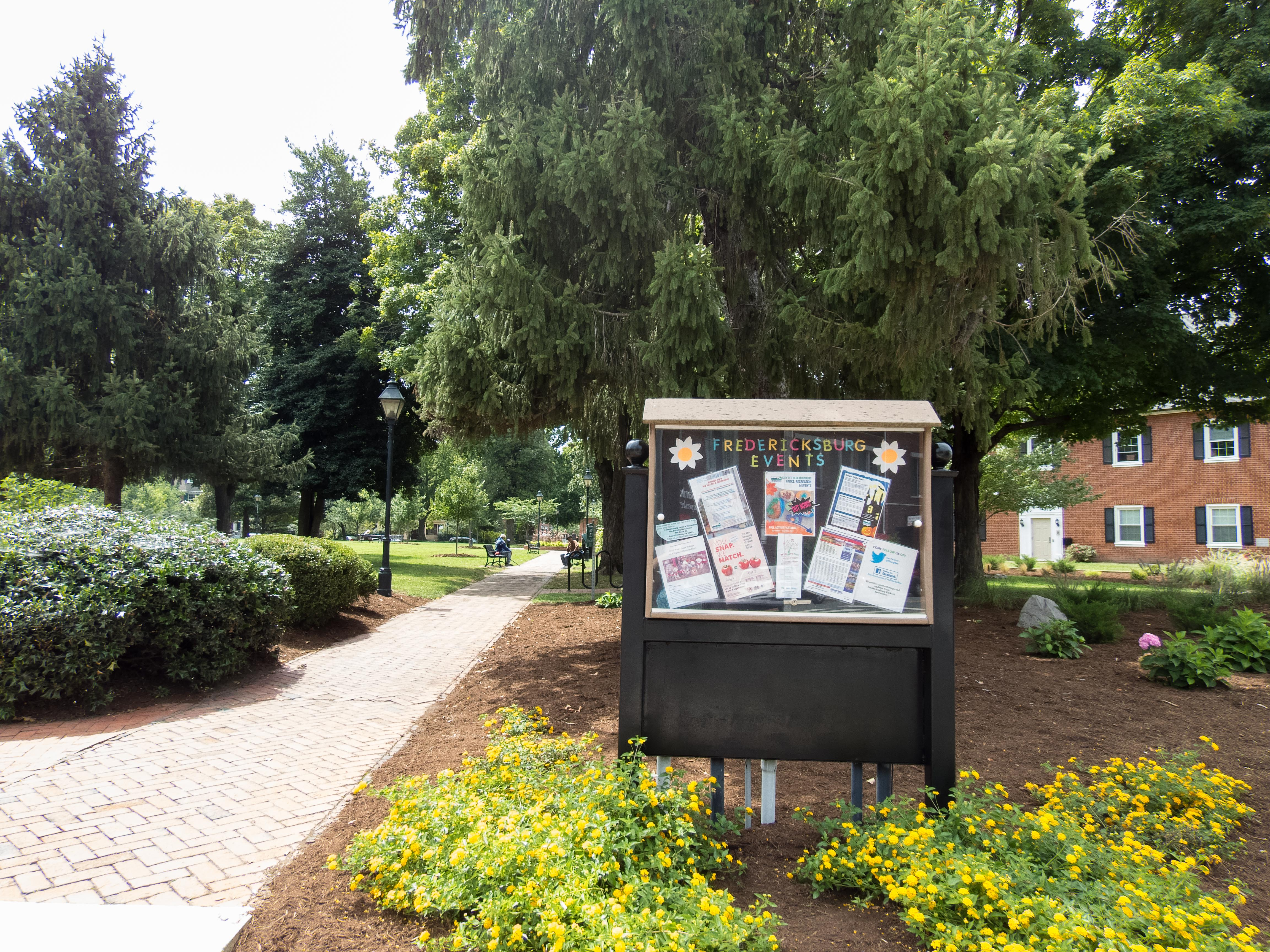 Events Bulletin Board w Flowers at Hurkamp Park